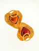 YSL Vintage Red & Orange Double Heart Gold Brooch - Amarcord Vintage Fashion  - 3