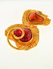 YSL Vintage Red & Orange Double Heart Gold Brooch - Amarcord Vintage Fashion  - 2