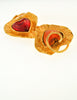 YSL Vintage Red & Orange Double Heart Gold Brooch - Amarcord Vintage Fashion  - 4