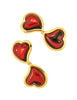 YSL Vintage Double Red Heart Earrings - Amarcord Vintage Fashion  - 3
