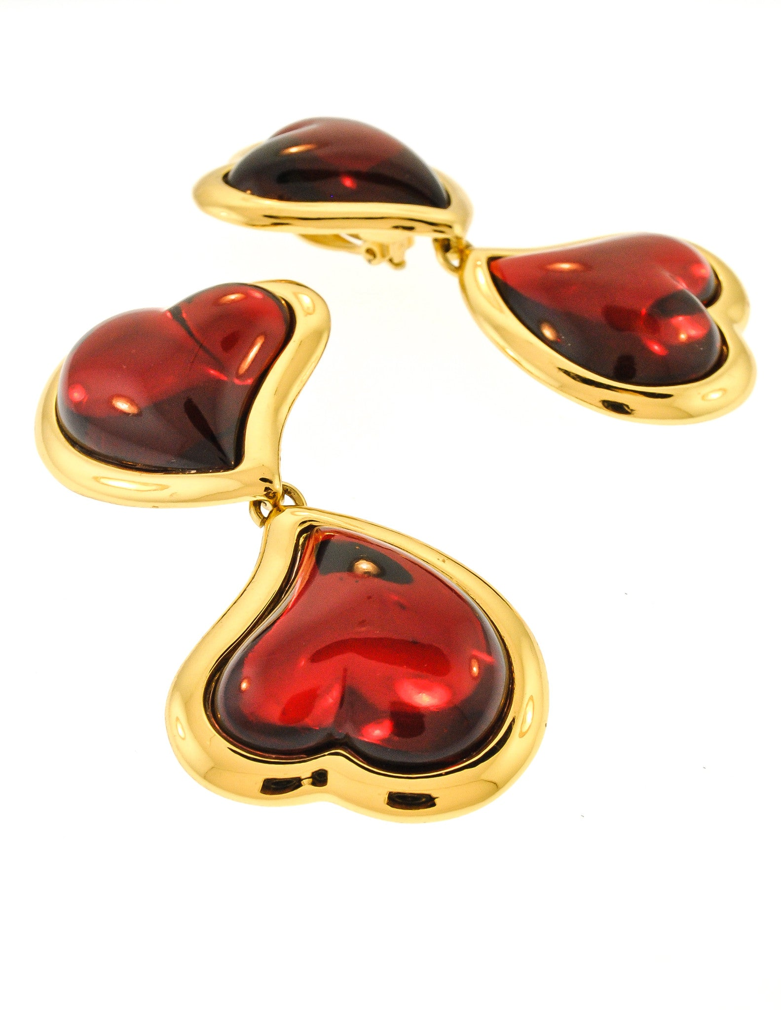 Ysl Vintage Double Red Heart Earrings  Amarcord Vintage Fashion  4