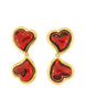 YSL Vintage Double Red Heart Earrings - Amarcord Vintage Fashion  - 2