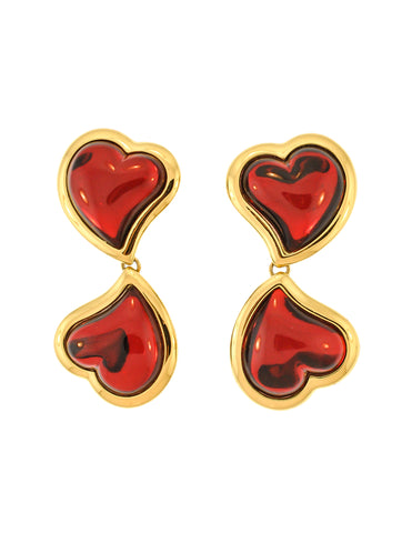 YSL Vintage Double Red Heart Earrings