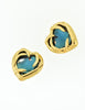 YSL Vintage Gold Green Gripoix Glass Heart Earrings - Amarcord Vintage Fashion  - 2