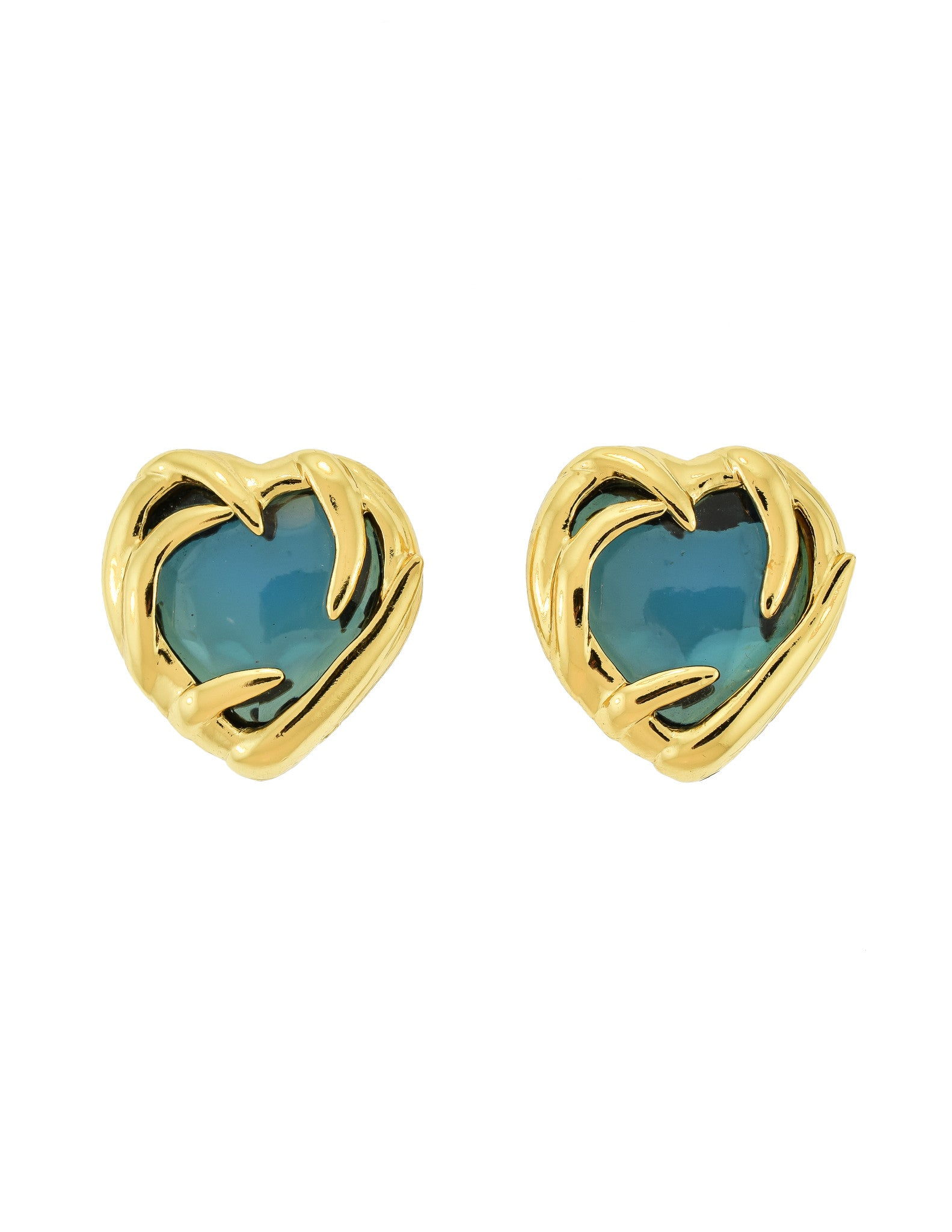 YSL Vintage Gold Green Gripoix Glass Heart Earrings - Amarcord Vintage Fashion  - 1