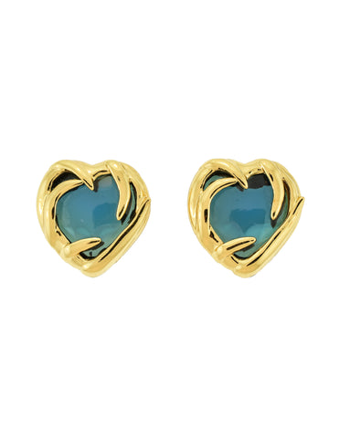 YSL Vintage Gold Green Gripoix Glass Heart Earrings