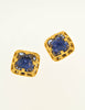 YSL Vintage Blue Gripoix Glass Gold Square Earrings