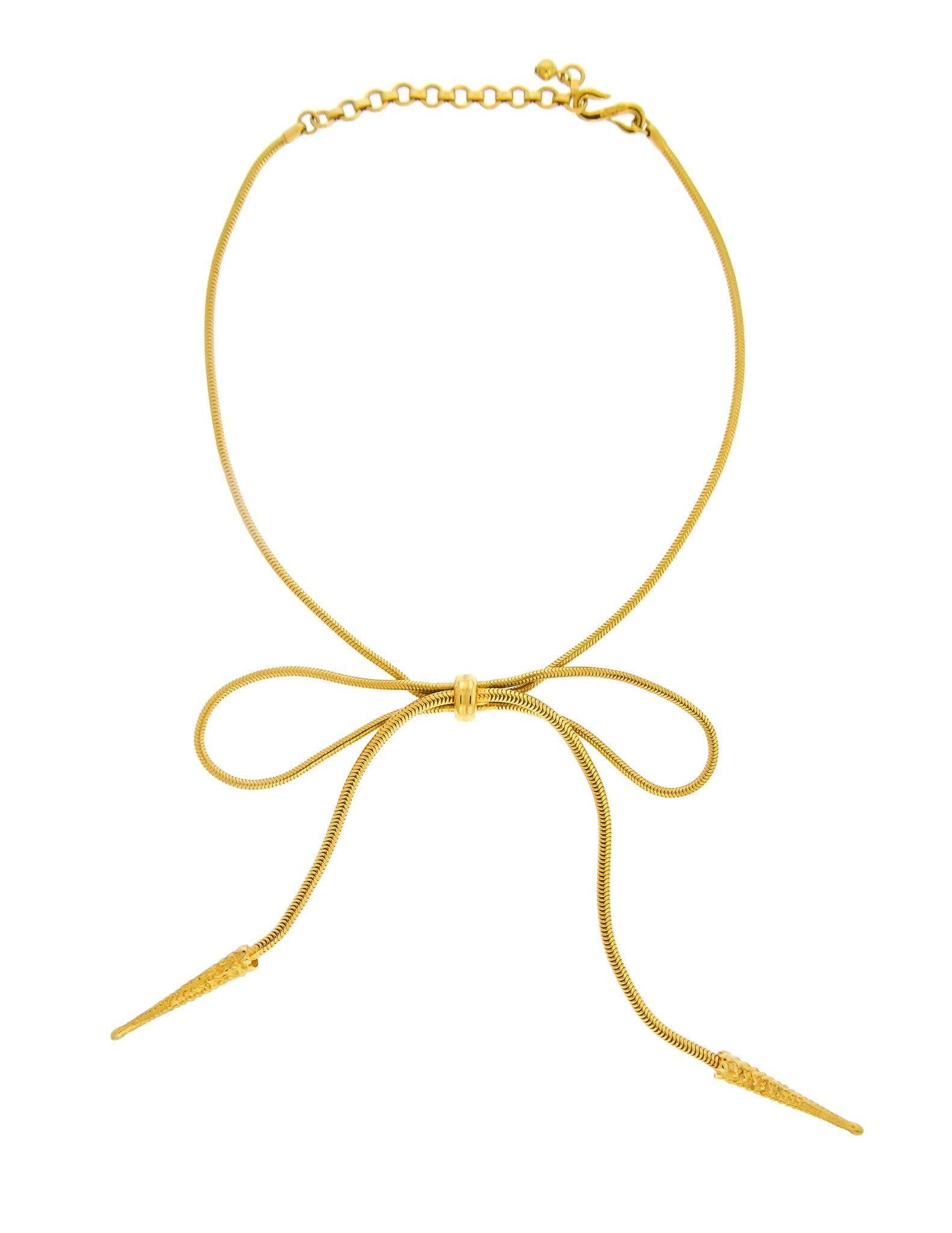 Yves Saint Laurent Vintage Gold Bow Necklace - Amarcord Vintage Fashion  - 1