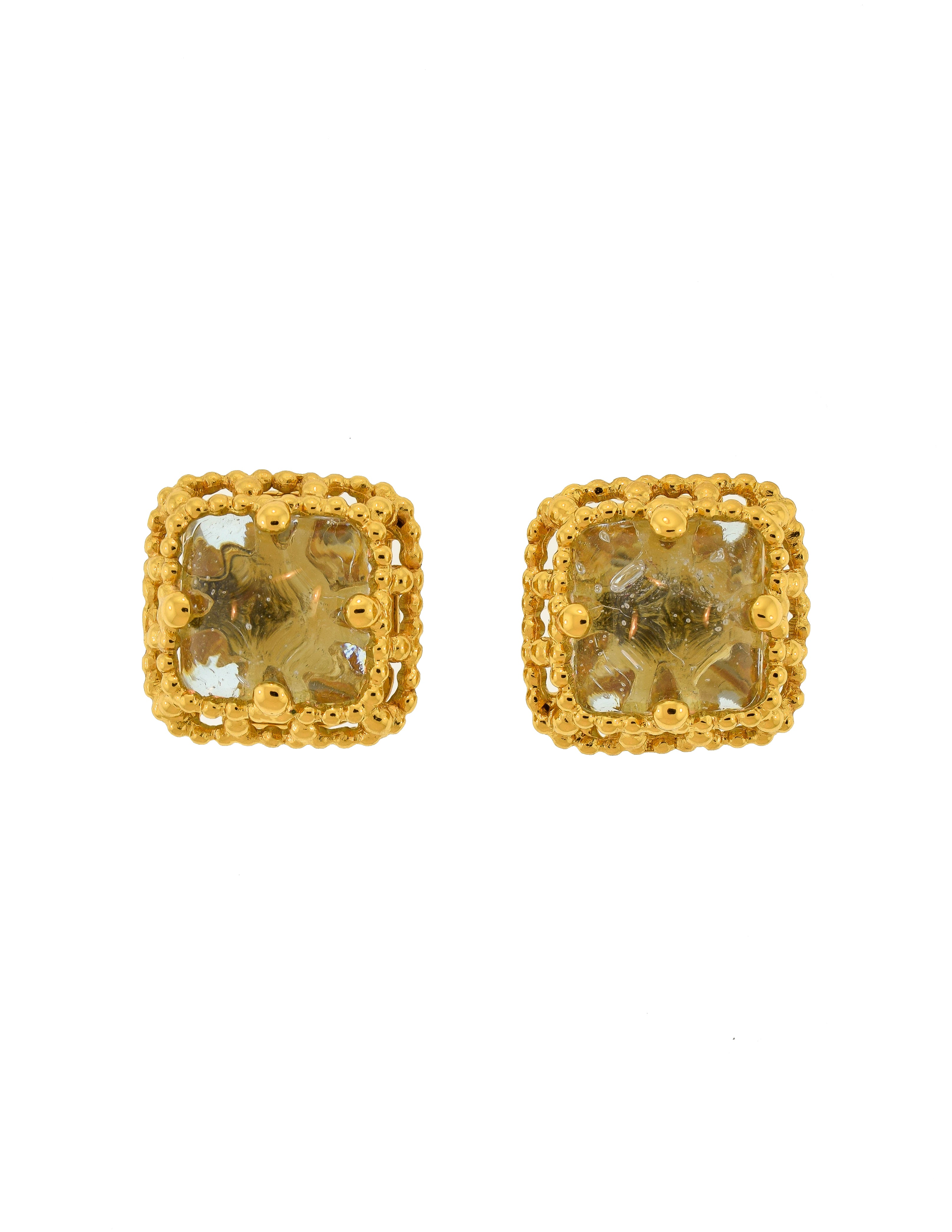 3b005fdc5d5 Yves Saint Laurent Vintage Purple Gripoix Glass Gold Frame Earrings - from  Amarcord Vintage Fashion