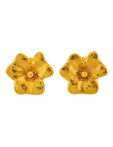 YSL Vintage Gold Giant Flower Earrings