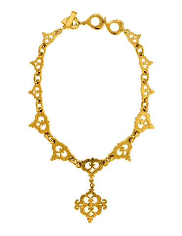 Yves Saint Laurent Vintage Gold Textured Ornate Pendant Necklace