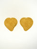YSL Vintage Large Gold Textured Heart Earrings - Amarcord Vintage Fashion  - 2