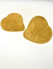 YSL Vintage Large Gold Textured Heart Earrings - Amarcord Vintage Fashion  - 3