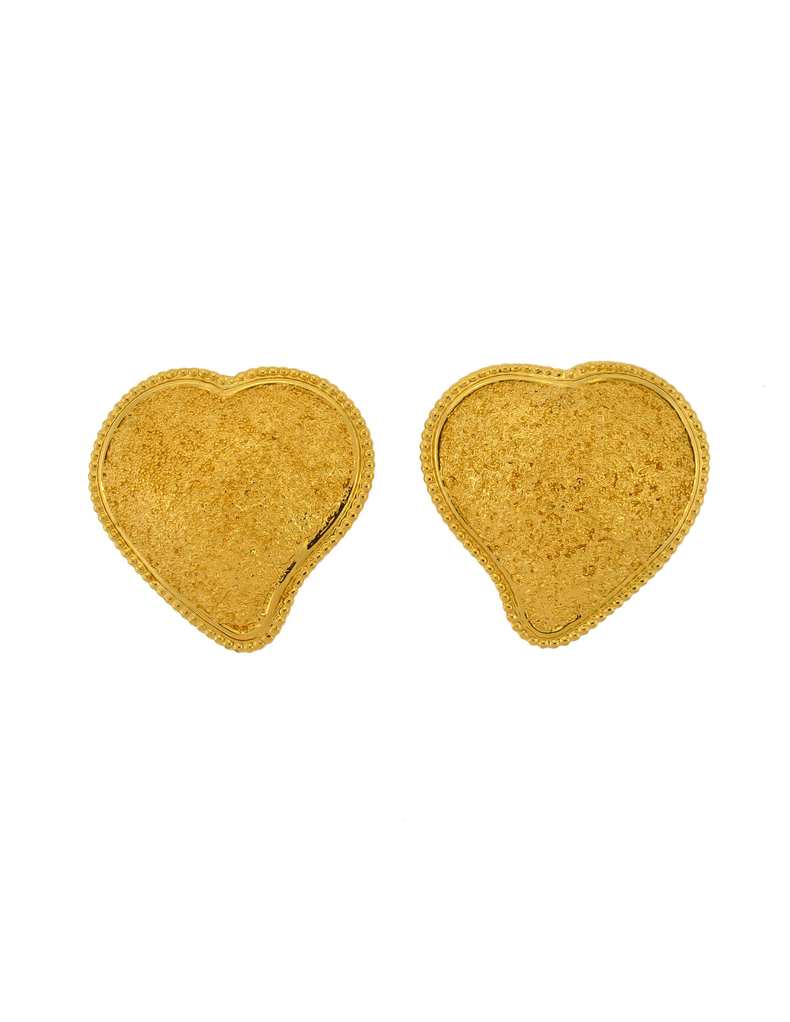 YSL Vintage Large Gold Textured Heart Earrings - Amarcord Vintage Fashion  - 1