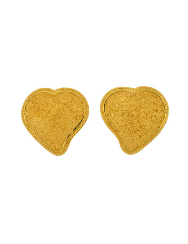 YSL Vintage Large Gold Textured Heart Earrings