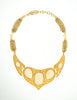 YSL Vintage White Cabochon Brushed Gold Plaque Multistrand Necklace - Amarcord Vintage Fashion  - 2