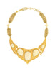 YSL Vintage White Cabochon Brushed Gold Plaque Multistrand Necklace - Amarcord Vintage Fashion  - 1