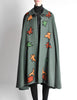 Saint Laurent Rive Gauche Vintage Green Falling Leaves Cape - Amarcord Vintage Fashion  - 2