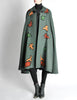 Saint Laurent Rive Gauche Vintage Green Falling Leaves Cape - Amarcord Vintage Fashion  - 3