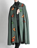 Saint Laurent Rive Gauche Vintage Green Falling Leaves Cape - Amarcord Vintage Fashion  - 6