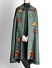 Saint Laurent Rive Gauche Vintage Green Falling Leaves Cape - Amarcord Vintage Fashion  - 5