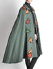 Saint Laurent Rive Gauche Vintage Green Falling Leaves Cape - Amarcord Vintage Fashion  - 7