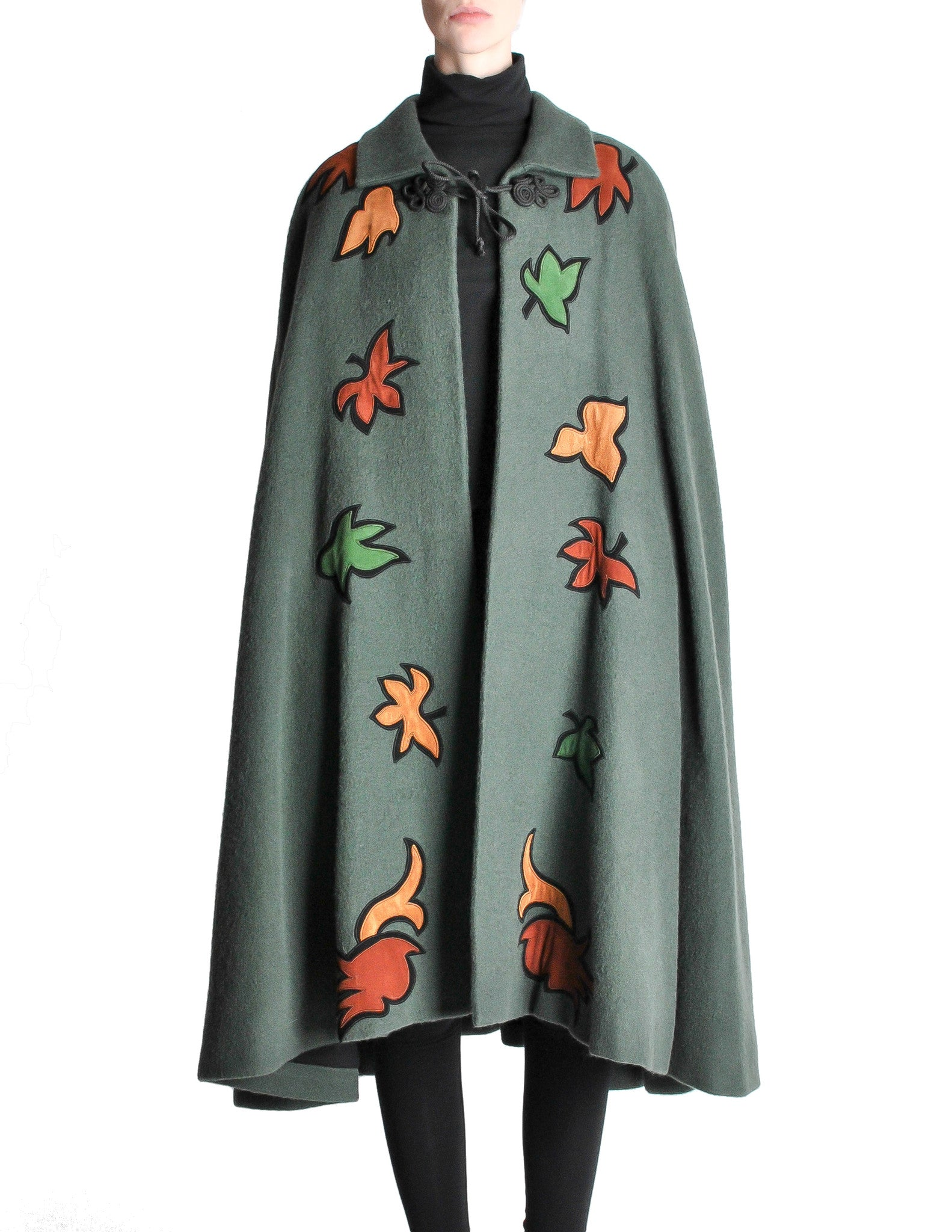 Saint Laurent Rive Gauche Vintage Green Falling Leaves Cape - Amarcord Vintage Fashion  - 1