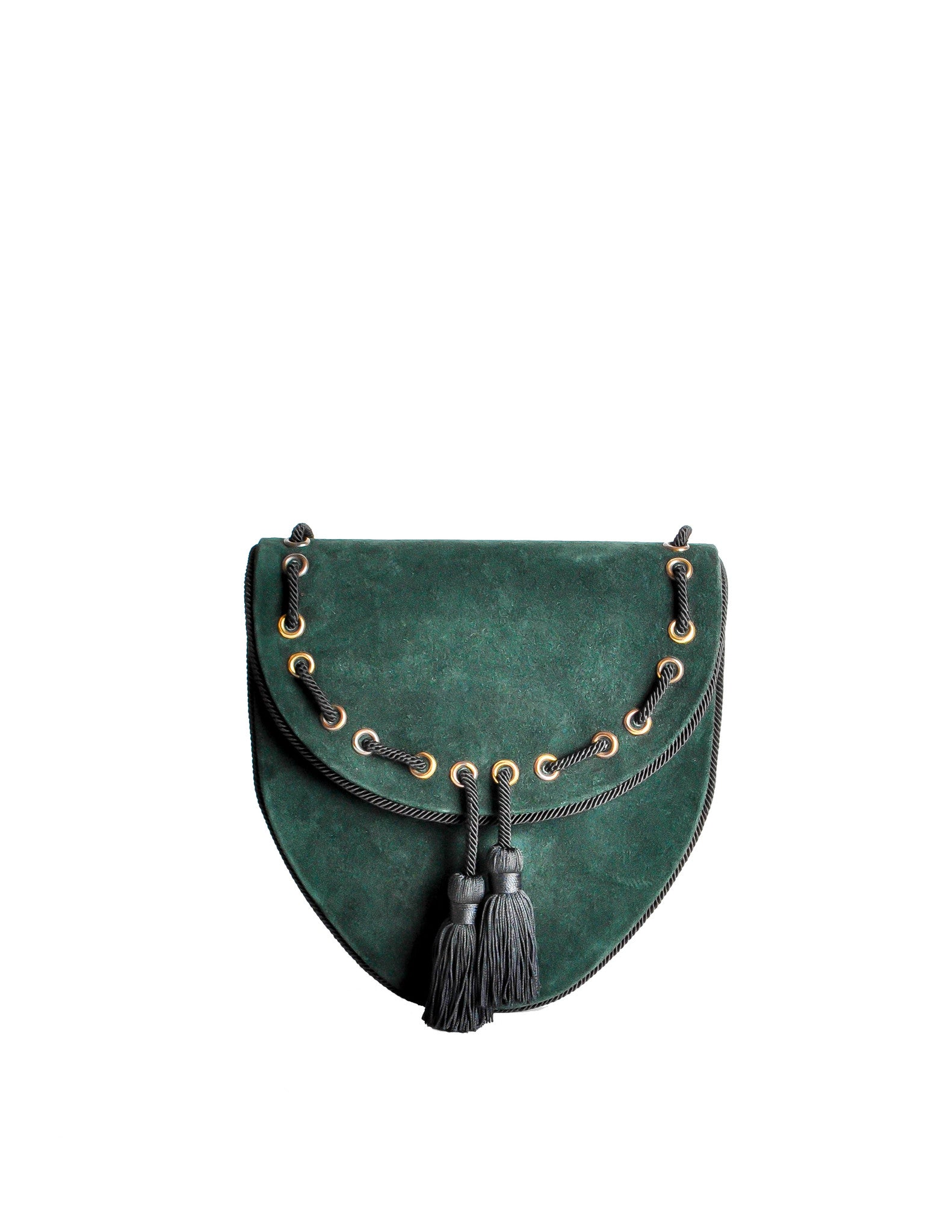 Yves Saint Laurent Vintage Green Suede Crossbody Bag - Amarcord Vintage Fashion  - 1