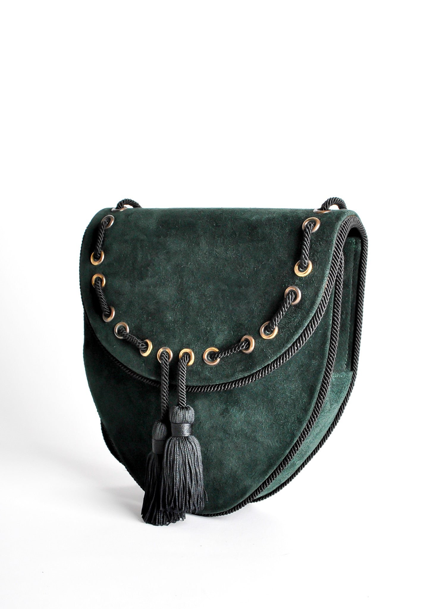 Yves Saint Laurent Vintage Green Suede Crossbody Bag