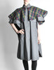 Saint Laurent Rive Gauche Vintage Grey Plaid Cape - Amarcord Vintage Fashion  - 5
