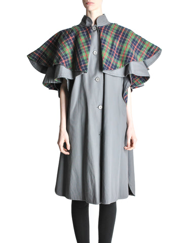 Saint Laurent Rive Gauche Vintage Grey Plaid Cape