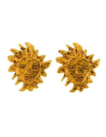 YSL Vintage Large Robert Goossens Iconic Gold Apollo Sun Face Earrings