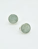 YSL Vintage Mint Green Monogram Button Earrings - Amarcord Vintage Fashion  - 3