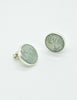 YSL Vintage Mint Green Monogram Button Earrings - Amarcord Vintage Fashion  - 4