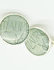 YSL Vintage Mint Green Monogram Button Earrings - Amarcord Vintage Fashion  - 2