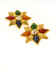 YSL Vintage Multicolor Gold Rhinestone Star Earrings - Amarcord Vintage Fashion  - 2