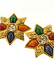 YSL Vintage Multicolor Gold Rhinestone Star Earrings - Amarcord Vintage Fashion  - 4