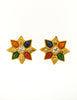 YSL Vintage Multicolor Gold Rhinestone Star Earrings - Amarcord Vintage Fashion  - 3