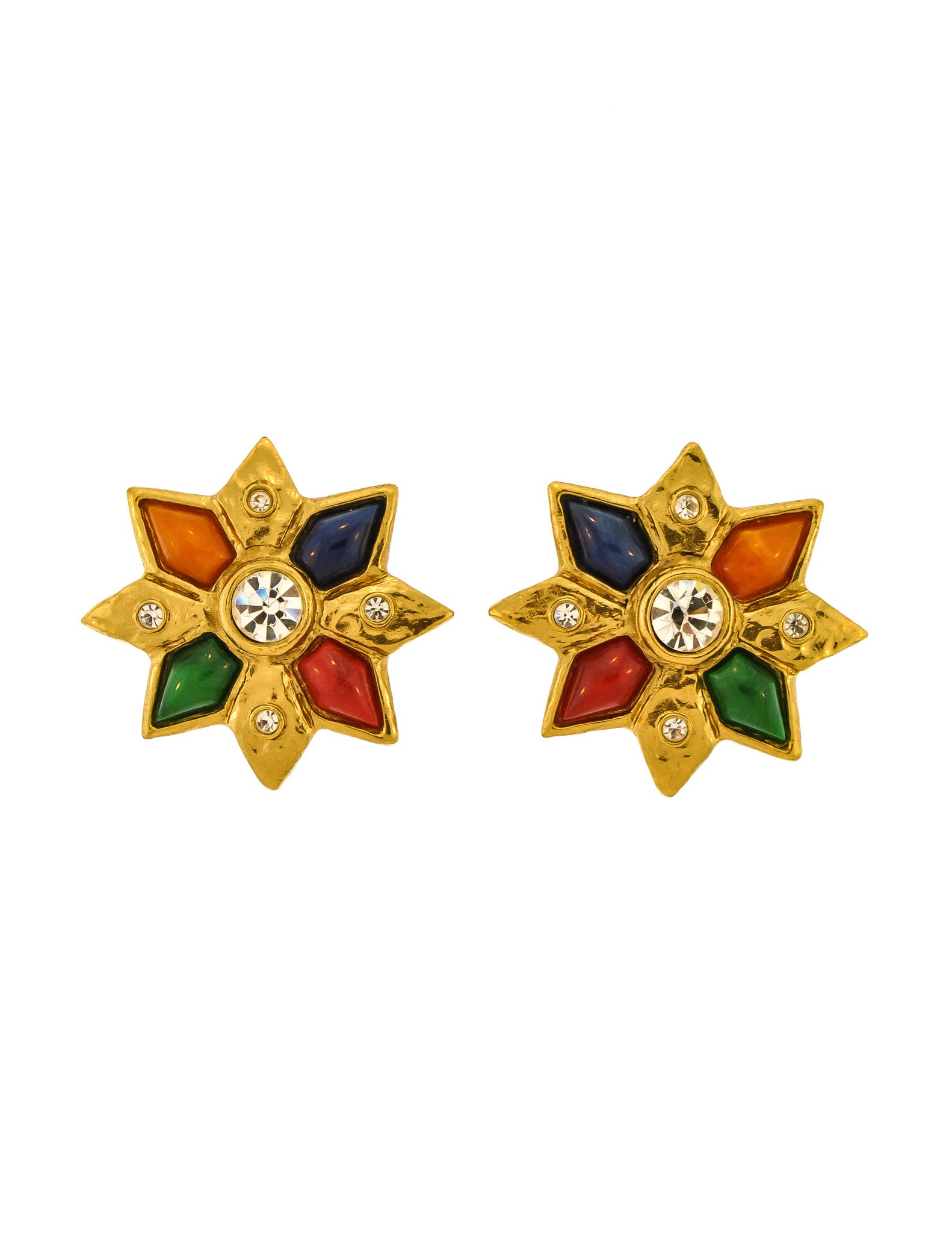 YSL Vintage Multicolor Gold Rhinestone Star Earrings - Amarcord Vintage Fashion  - 1