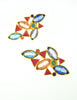 YSL Vintage Multicolor Enamel Rhinestone Geometric Earrings - Amarcord Vintage Fashion  - 2