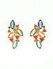 YSL Vintage Multicolor Enamel Rhinestone Geometric Earrings - Amarcord Vintage Fashion  - 3