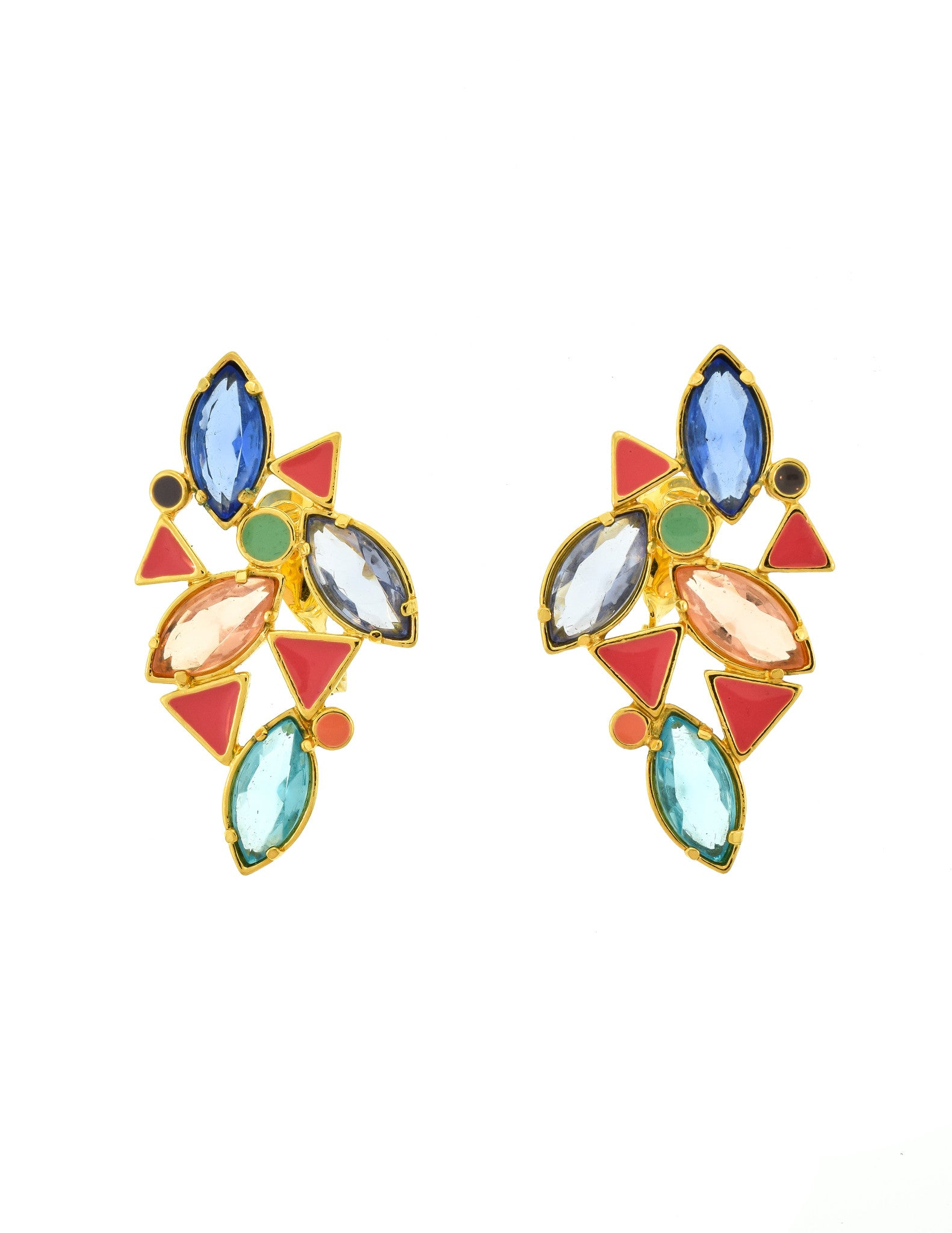 YSL Vintage Multicolor Enamel Rhinestone Geometric Earrings - Amarcord Vintage Fashion  - 1