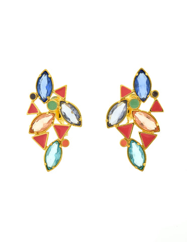 YSL Vintage Multicolor Enamel Rhinestone Geometric Earrings