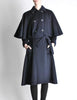 Saint Laurent Rive Gauche Vintage Navy Blue Wool Cape Trench Coat - Amarcord Vintage Fashion  - 2
