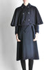Saint Laurent Rive Gauche Vintage Navy Blue Wool Cape Trench Coat - Amarcord Vintage Fashion  - 6