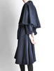 Saint Laurent Rive Gauche Vintage Navy Blue Wool Cape Trench Coat - Amarcord Vintage Fashion  - 5