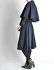 Saint Laurent Rive Gauche Vintage Navy Blue Wool Cape Trench Coat - Amarcord Vintage Fashion  - 3