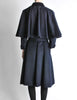 Saint Laurent Rive Gauche Vintage Navy Blue Wool Cape Trench Coat - Amarcord Vintage Fashion  - 7