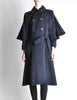 Saint Laurent Rive Gauche Vintage Navy Blue Wool Cape Trench Coat - Amarcord Vintage Fashion  - 4