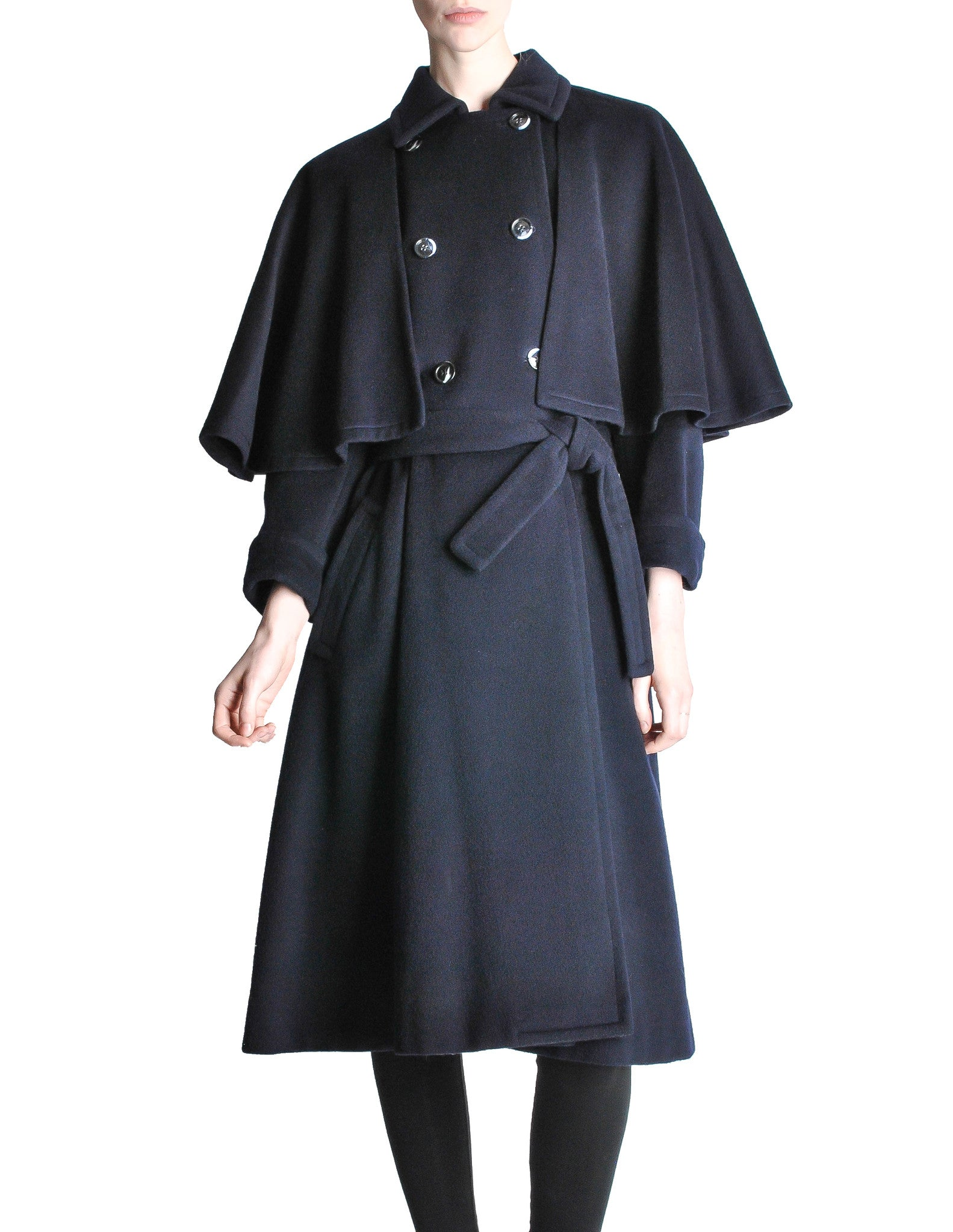 Saint Laurent Rive Gauche Vintage Navy Blue Wool Cape Trench Coat - Amarcord Vintage Fashion  - 1
